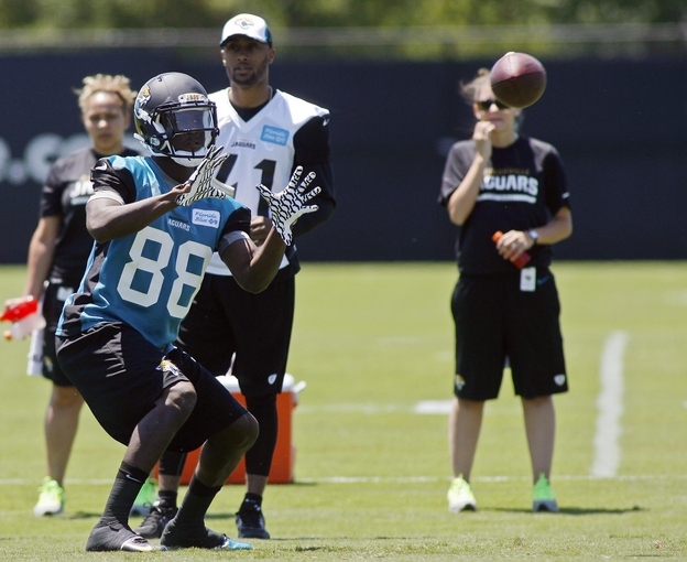 May 16, 2014; Jacksonville, FL, USA; Jacksonville Jaguars wide receiver Allen Hurns (88) catches a pass during rookie minicamp at Florida Blue Health and Wellness Practice Fields. Mandatory Credit: Phil Sears-USA TODAY Sports