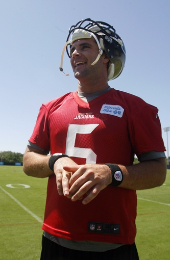 May 16, 2014; Jacksonville, FL, USA;Jacksonville Jaguars quarterback Blake Bortles (5) smiles after rookie minicamp at Florida Blue Health and Wellness Practice Fields. Mandatory Credit: Phil Sears-USA TODAY Sports