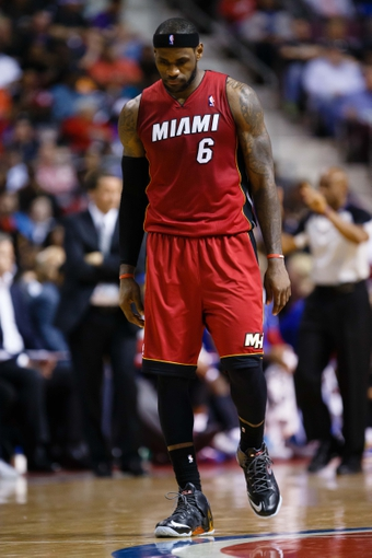 Mar 28, 2014; Auburn Hills, MI, USA; Miami Heat forward LeBron James (6) reacts during the game against the Detroit Pistons at The Palace of Auburn Hills. Mandatory Credit: Rick Osentoski-USA TODAY Sports