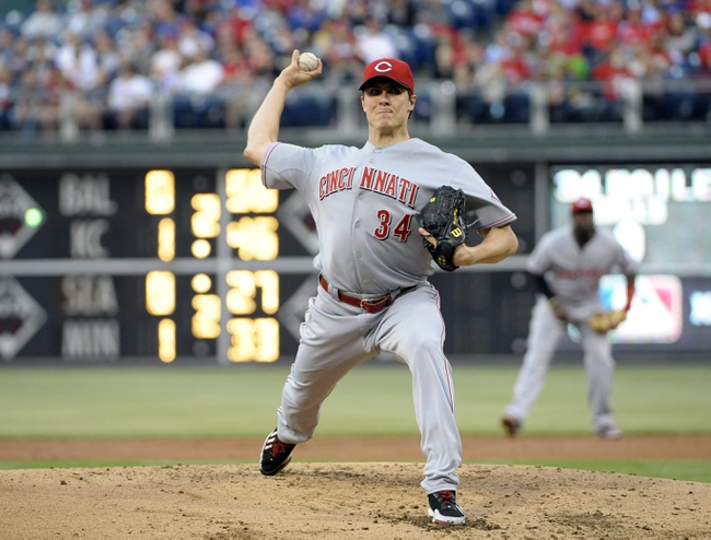 May 17, 2014; Philadelphia, PA, USA; Cincinnati Reds starting pitcher Homer Bailey (34) throws a pitch in the second inning against the Philadelphia Phillies at Citizens Bank Park. Mandatory Credit: Eric Hartline-USA TODAY Sports