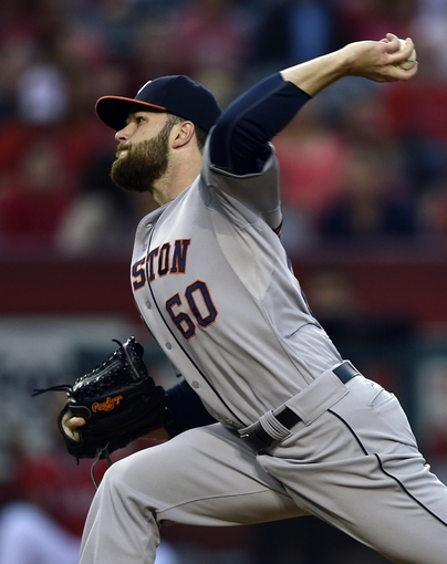 May 19, 2014; Anaheim, CA, USA; Houston Astros starting pitcher Dallas Keuchel (60) pitches during the first inning against the Los Angeles Angels at Angel Stadium of Anaheim. Mandatory Credit: Kelvin Kuo-USA TODAY Sports
