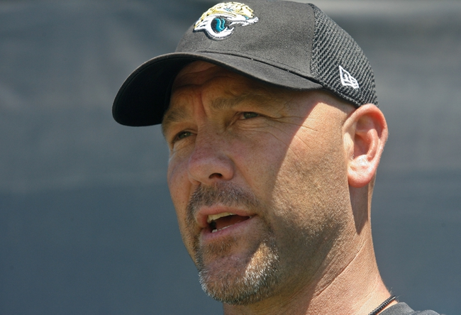 May 16, 2014; Jacksonville, FL, USA; Jacksonville Jaguars head coach Gus Bradley speaks to the media after Rookie Minicamp at Florida Blue Health and Wellness Practice Fields. Mandatory Credit: Phil Sears-USA TODAY Sports