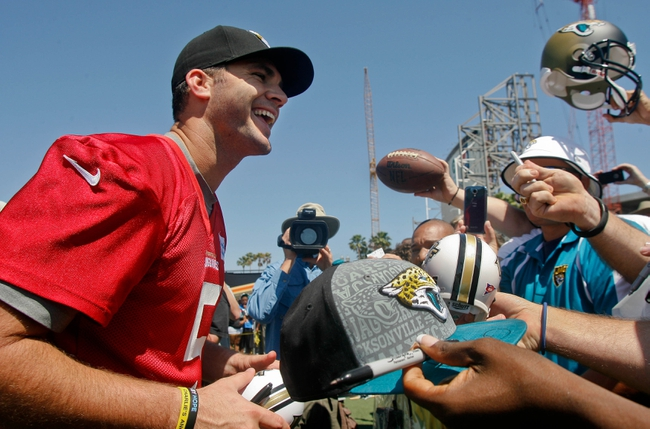 May 16, 2014; Jacksonville, FL, USA; Jacksonville Jaguars quarterback Blake Bortles (5) after Rookie Minicamp at Florida Blue Health and Wellness Practice Fields. Mandatory Credit: Phil Sears-USA TODAY Sports