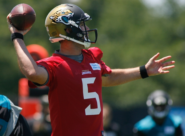 May 16, 2014; Jacksonville, FL, USA; Jacksonville Jaguars quarterback Blake Bortles (5) throws during Rookie Minicamp at Florida Blue Health and Wellness Practice Fields. Mandatory Credit: Phil Sears-USA TODAY Sports
