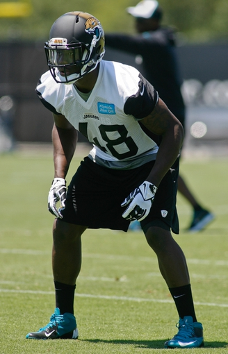 May 16, 2014; Jacksonville, FL, USA; Jacksonville Jaguars linebacker Marcus Whitfield (48) during Rookie Minicamp at Florida Blue Health and Wellness Practice Fields. Mandatory Credit: Phil Sears-USA TODAY Sports