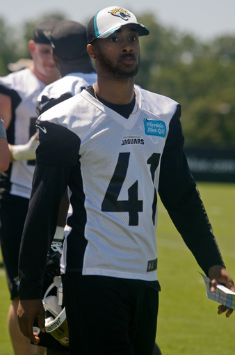 May 16, 2014; Jacksonville, FL, USA; Jacksonville Jaguars cornerback Aaron Colvin (41) after Rookie Minicamp at Florida Blue Health and Wellness Practice Fields. Mandatory Credit: Phil Sears-USA TODAY Sports