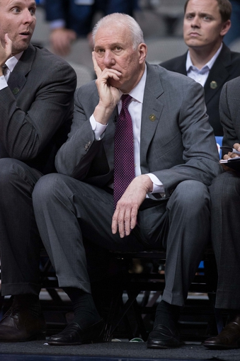 Apr 10, 2014; Dallas, TX, USA; San Antonio Spurs head coach Gregg Popovich during the game against the Dallas Mavericks at the American Airlines Center. The Spurs defeated the Mavericks 109-100. Mandatory Credit: Jerome Miron-USA TODAY Sports