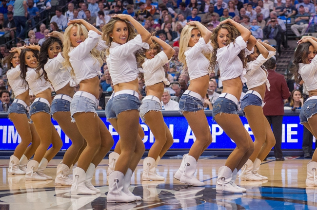 Apr 10, 2014; Dallas, TX, USA; The Dallas Mavericks dancers perform during the game between the Mavericks and the San Antonio Spurs at the American Airlines Center. The Spurs defeated the Mavericks 109-100. Mandatory Credit: Jero