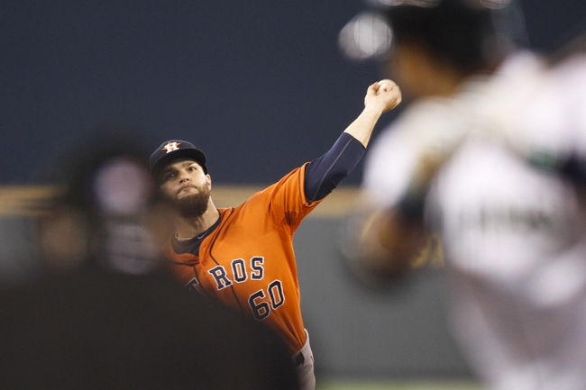 May 25, 2014; Seattle, WA, USA; Houston Astros pitcher Dallas Keuchel (60) delivers to the plate against the Seattle Mariners during the first inning at Safeco Field. Mandatory Credit: Joe Nicholson-USA TODAY Sports