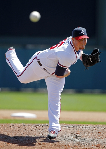 Mar 14, 2014; Lake Buena Vista, FL, USA; Atlanta Braves relief pitcher Craig Kimbrel (46) throws a pitch against the Tampa Bay Rays at Champion Stadium. Mandatory Credit: Kim Klement-USA TODAY Sports