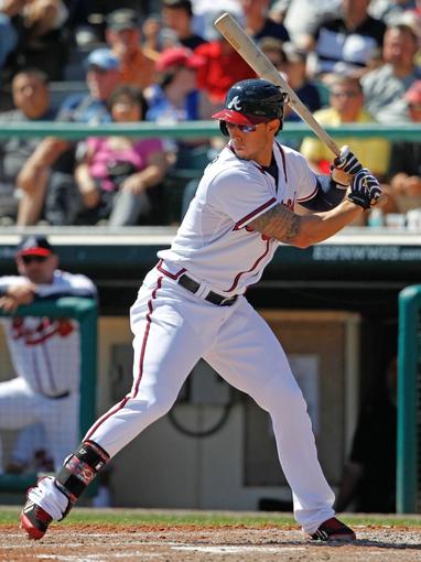 Mar 14, 2014; Lake Buena Vista, FL, USA; Atlanta Braves center fielder Jordan Schafer (17) at bat against the Tampa Bay Rays  at Champion Stadium. Mandatory Credit: Kim Klement-USA TODAY Sports