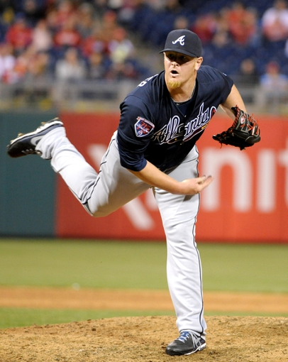 Apr 14, 2014; Philadelphia, PA, USA; Atlanta Braves relief pitcher David Carpenter (48) pitches against the Philadelphia Phillies at Citizens Bank Park. The Braves defeated the Phillies, 9-6. Mandatory Credit: Eric Hartline-USA TODAY Sports