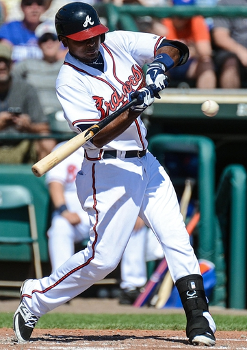 Mar 3, 2014; Lake Buena Vista, FL, USA; Atlanta Braves shortstop Elmer Reyes (67) at bat during the spring training exhibition game against the New York Mets at Champion Stadium. Mandatory Credit: Jonathan Dyer-USA TODAY Sports