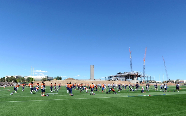 May 28, 2013; Englewood, CO, USA; General view of the Paul D. Bowlen Memorial Broncos Centre training facility of the Denver Broncos during organized team activities. Mandatory Credit: Ron Chenoy-USA TODAY Sports