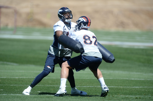 May 28, 2013; Englewood, CO, USA; Denver Broncos tight end Gerell Robinson (89) and tight end Jamerson Konz (82) during organized team activities at the Broncos training facility. Mandatory Credit: Ron Chenoy-USA TODAY Sports