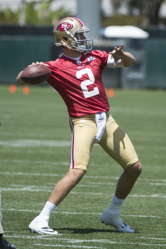 May 28, 2014; Santa Clara, CA, USA; San Francisco 49ers quarterback Blaine Gabbert (2) passes the football during organized team activities at the SAP Performance Facility. Mandatory Credit: Kyle Terada-USA TODAY Sports