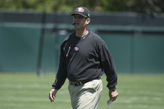 May 28, 2014; Santa Clara, CA, USA; San Francisco 49ers head coach Jim Harbaugh during organized team activities at the SAP Performance Facility. Mandatory Credit: Kyle Terada-USA TODAY Sports