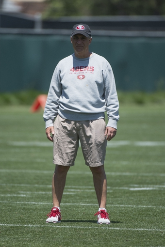 May 28, 2014; Santa Clara, CA, USA; San Francisco 49ers defensive coordinator Vic Fangio during organized team activities at the SAP Performance Facility. Mandatory Credit: Kyle Terada-USA TODAY Sports