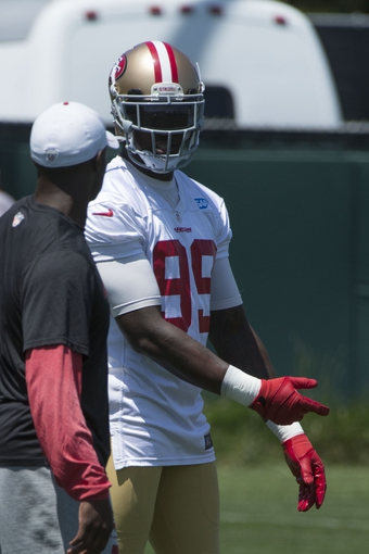 May 28, 2014; Santa Clara, CA, USA; San Francisco 49ers linebacker Aldon Smith (99) during organized team activities at the SAP Performance Facility. Mandatory Credit: Kyle Terada-USA TODAY Sports