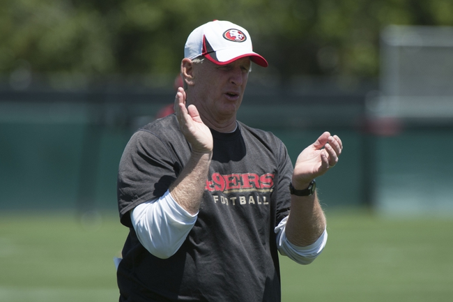 May 28, 2014; Santa Clara, CA, USA; San Francisco 49ers linebackers coach Jim Leavitt during organized team activities at the SAP Performance Facility. Mandatory Credit: Kyle Terada-USA TODAY Sports