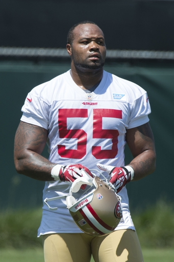 May 28, 2014; Santa Clara, CA, USA; San Francisco 49ers linebacker Ahmad Brooks (55) during organized team activities at the SAP Performance Facility. Mandatory Credit: Kyle Terada-USA TODAY Sports