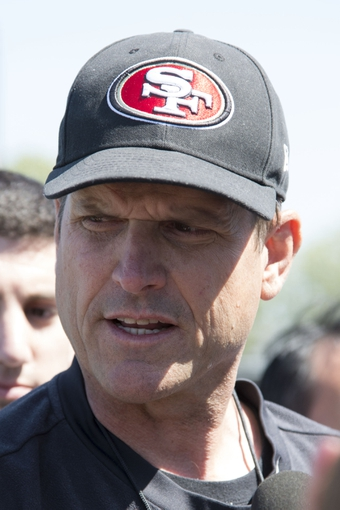 May 28, 2014; Santa Clara, CA, USA; San Francisco 49ers head coach Jim Harbaugh addresses the media during organized team activities at the SAP Performance Facility. Mandatory Credit: Kyle Terada-USA TODAY Sports