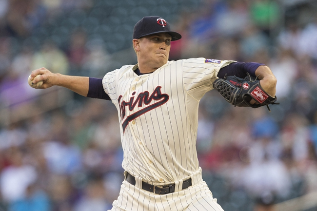May 28, 2014; Minneapolis, MN, USA; Minnesota Twins starting pitcher Kyle Gibson (44) delivers a pitch in the first inning against the Texas Rangers at Target Field. Mandatory Credit: Jesse Johnson-USA TODAY Sports