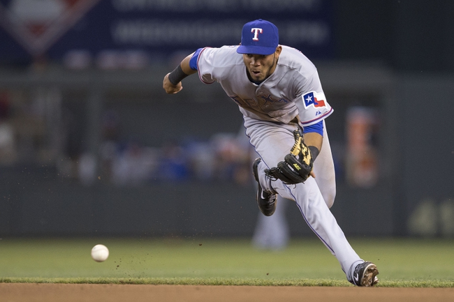 May 28, 2014; Minneapolis, MN, USA; Texas Rangers second baseman Luis Sardinas (3) fields a ground ball in the fifth inning against the Minnesota Twins at Target Field. Mandatory Credit: Jesse Johnson-USA TODAY Sports