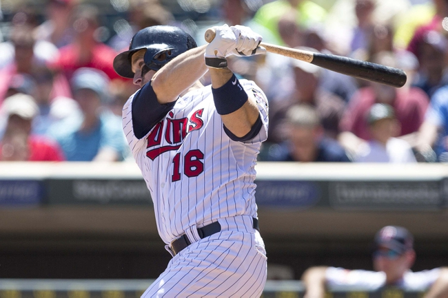 May 29, 2014; Minneapolis, MN, USA; Minnesota Twins designated hitter Josh Willingham (16) hits a two run home run in the fifth inning against the Texas Rangers at Target Field. Mandatory Credit: Jesse Johnson-USA TODAY Sports