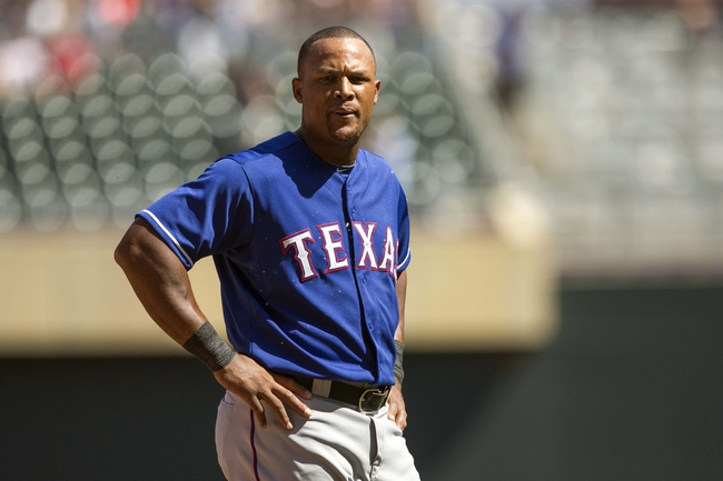 May 29, 2014; Minneapolis, MN, USA; Texas Rangers third baseman Adrian Beltre (29) looks on during the ninth inning against the Minnesota Twins at Target Field. The Rangers won 5-4. Mandatory Credit: Jesse Johnson-USA TODAY Sports