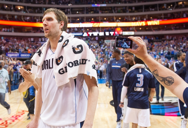 Apr 12, 2014; Dallas, TX, USA; Dallas Mavericks forward Dirk Nowitzki (41) after the game against the Phoenix Suns at the American Airlines Center. The Mavericks defeated the Suns 101-98. Mandatory Credit: Jerome Miron-USA TODAY Sports