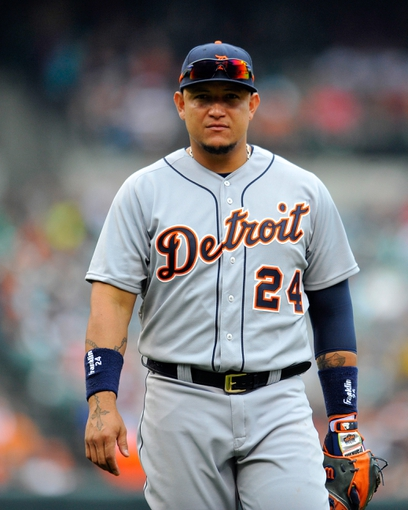 May 14, 2014; Baltimore, MD, USA; Detroit Tigers first baseman Miguel Cabrera (24) during a game against the Baltimore Orioles at Oriole Park at Camden Yards. The Tigers defeated the Orioles 7-5. Mandatory Credit: Joy R. Absalon-USA TODAY Sports