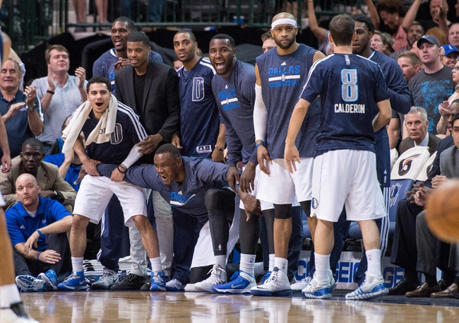 Apr 12, 2014; Dallas, TX, USA; The Dallas Mavericks bench during the game between the Mavericks and the Phoenix Suns at the American Airlines Center. The Mavericks defeated the Suns 101-98. Mandatory Credit: Jerome Miron-USA TODAY Sports