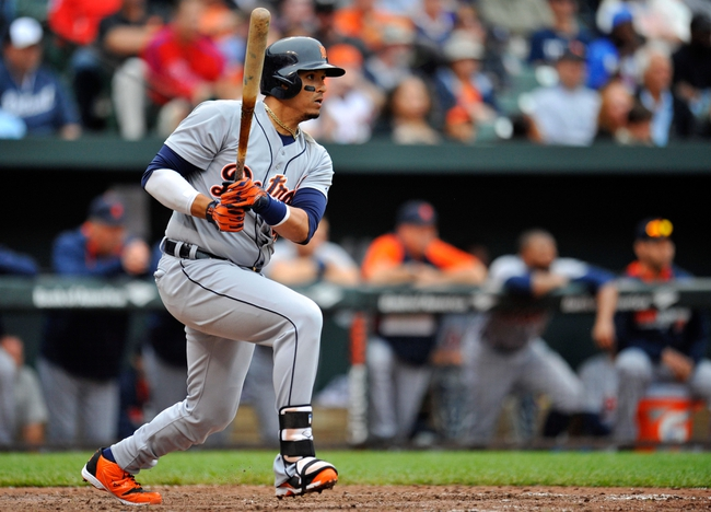 May 14, 2014; Baltimore, MD, USA; Detroit Tigers designated hitter Victor Martinez (41) bats in the seventh inning against the Baltimore Orioles at Oriole Park at Camden Yards. The Tigers defeated the Orioles 7-5. Mandatory Credit: Joy R. Absalon-USA TODAY Sports