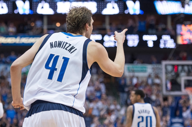 Apr 12, 2014; Dallas, TX, USA; Dallas Mavericks forward Dirk Nowitzki (41) during the game against the Phoenix Suns at the American Airlines Center. The Mavericks defeated the Suns 101-98. Mandatory Credit: Jerome Miron-USA TODAY Sports