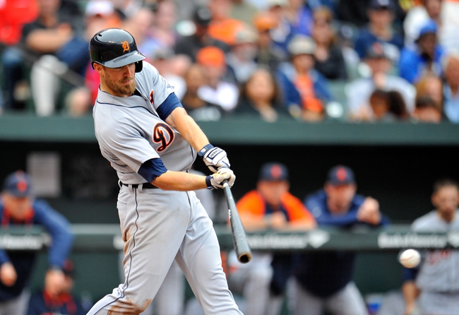 May 14, 2014; Baltimore, MD, USA; Detroit Tigers shortstop Danny Worth (29) bats in the eighth inning against the Baltimore Orioles at Oriole Park at Camden Yards. The Tigers defeated the Orioles 7-5. Mandatory Credit: Joy R. Absalon-USA TODAY Sports
