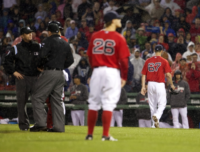 May 30, 2014; Boston, MA, USA; Boston Red Sox starting pitcher Brandon Workman (67) is ejected from the game after hitting Tampa Bay Rays third baseman Evan Longoria (not pictured) during the sixth inning at Fenway Park. Mandatory Credit: David Butler II-USA TODAY Sports