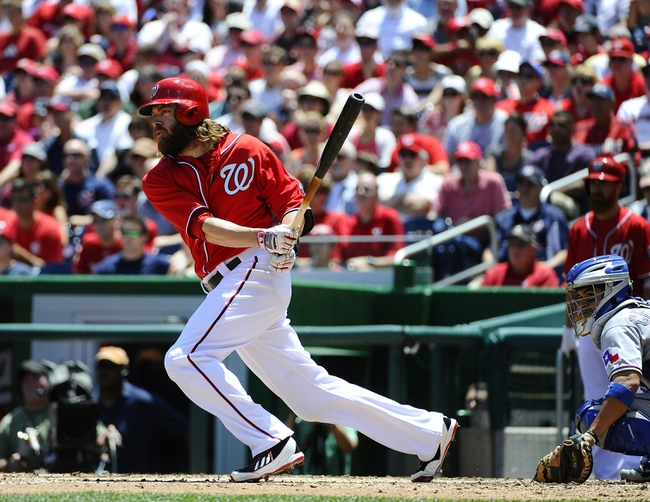 May 31, 2014; Washington, DC, USA; Washington Nationals right fielder Jayson Werth (28) hits a two RBI double against the Texas Rangers during the second inning at Nationals Park. Mandatory Credit: Brad Mills-USA TODAY Sports