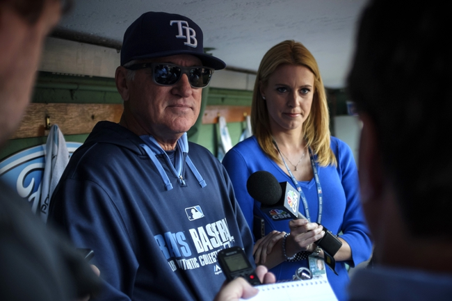 May 31, 2014; Boston, MA, USA; Tampa Bay Rays manager Joe Maddon (70) talks with reporters before the start of the game against the Boston Red Sox at Fenway Park. Mandatory Credit: David Butler II-USA TODAY Sports