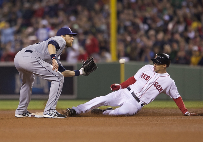 May 31, 2014; Boston, MA, USA; Boston Red Sox left fielder Grady Sizemore (38) steals second base against Tampa Bay Rays shortstop Ben Zobrist (18) in the first inning at Fenway Park. Mandatory Credit: David Butler II-USA TODAY Sports