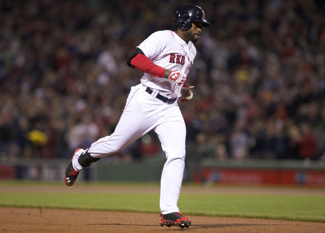 May 31, 2014; Boston, MA, USA; Boston Red Sox center fielder Jackie Bradley Jr. (25) rounds the bases after hitting a two run homer against the Tampa Bay Rays in the fifth inning at Fenway Park. Mandatory Credit: David Butler II-USA TODAY Sports