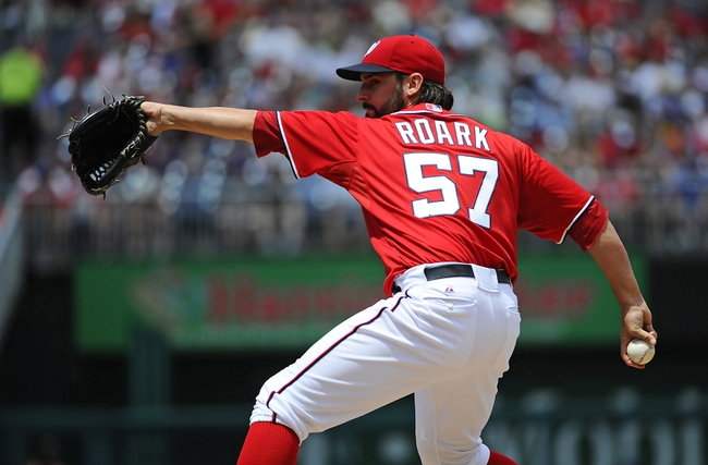 Jun 1, 2014; Washington, DC, USA; Washington Nationals starting pitcher Tanner Roark (57) throws during the second inning against the Texas Rangers at Nationals Park. Mandatory Credit: Brad Mills-USA TODAY Sports