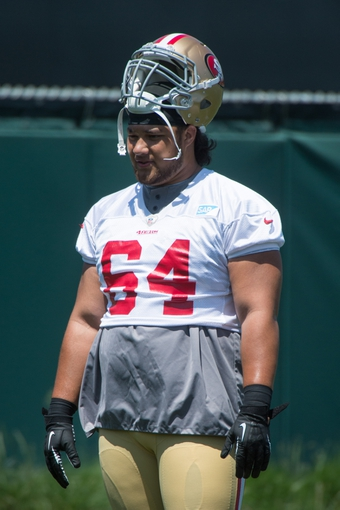 May 28, 2014; Santa Clara, CA, USA; San Francisco 49ers guard Fouimalo Fonoti (64) during organized team activities at the SAP Performance Facility. Mandatory Credit: Kyle Terada-USA TODAY Sports