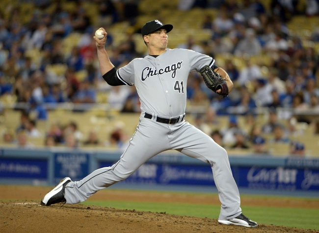 Jun 2, 2014; Los Angeles, CA, USA; Chicago White Sox reliever Javy Guerra (41) delivers a pitch against the Los Angeles Dodgers at Dodger Stadium. The Dodgers defeated the White Sox 5-2. Mandatory Credit: Kirby Lee-USA TODAY Sports