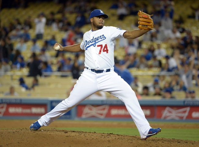 Jun 2, 2014; Los Angeles, CA, USA; Los Angeles Dodgers reliever Kenley Jansen (74) delivers a pitch against the Chicago White Sox at Dodger Stadium. The Dodgers defeated the White Sox 5-2. Mandatory Credit: Kirby Lee-USA TODAY Sports
