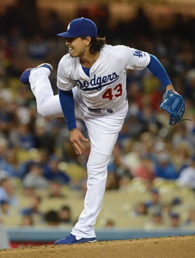 Jun 4, 2014; Los Angeles, CA, USA; Los Angeles Dodgers relief pitcher Brandon League (43) in the eighth inning of the game against the Chicago White Sox at Dodger Stadium. White Sox won 2-1. Mandatory Credit: Jayne Kamin-Oncea-USA TODAY Sports