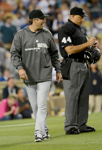 Jun 4, 2014; Los Angeles, CA, USA; Chicago White Sox manager Robin Ventura (23) has words for umpire Kerwin Danley (44) after he was ejected from the game in the eighth inning against the Los Angeles Dodgers at Dodger Stadium. White Sox won 2-1. Mandatory Credit: Jayne Kamin-Oncea-USA TODAY Sports