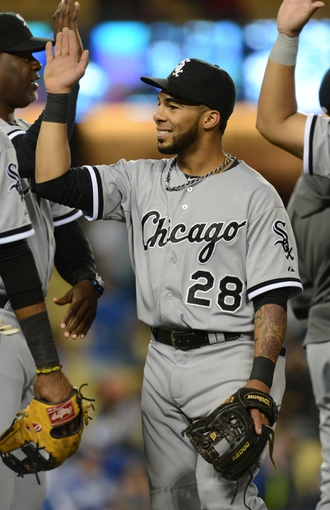 Jun 4, 2014; Los Angeles, CA, USA; Chicago White Sox second baseman Leury Garcia (28) gets high five after the game against the Los Angeles Dodgers at Dodger Stadium. White Sox won 2-1. Mandatory Credit: Jayne Kamin-Oncea-USA TODAY Sports
