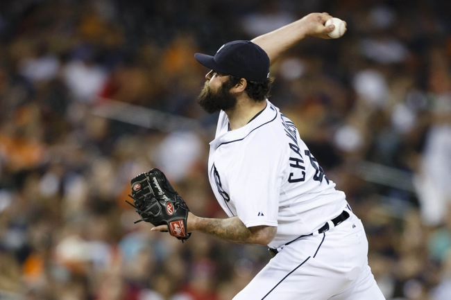 Jun 7, 2014; Detroit, MI, USA; Detroit Tigers relief pitcher Joba Chamberlain (44) pitches in the eighth inning against the Boston Red Sox at Comerica Park. Mandatory Credit: Rick Osentoski-USA TODAY Sports
