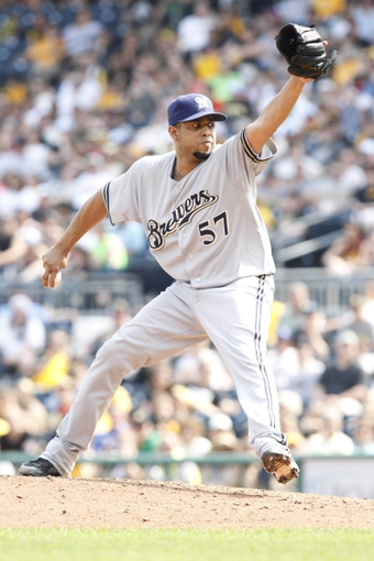 Jun 8, 2014; Pittsburgh, PA, USA; Milwaukee Brewers relief pitcher Francisco Rodriguez (57) pitches against the Pittsburgh Pirates during the ninth inning at PNC Park. The Brewers won 1-0. Mandatory Credit: Charles LeClaire-USA TODAY Sports